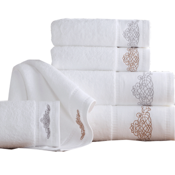 Towels Bath Set Luxury Hotel Towels 650gsm Hand Embroidered Linen