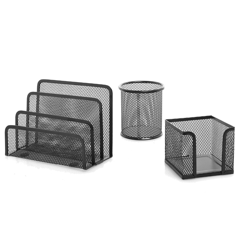 Amazon hot Wideny powder coated school office organizer stationery mesh metal wire steel 5pcs file tray desk set