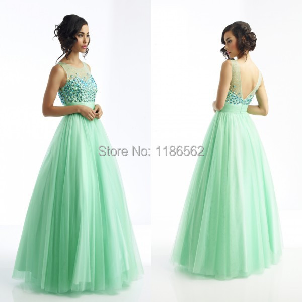 New Style Fresh Looking Scoop Neck Crystals Embellished Tulle Low V Back Empire Waist Mint Green Prom Dress 2014