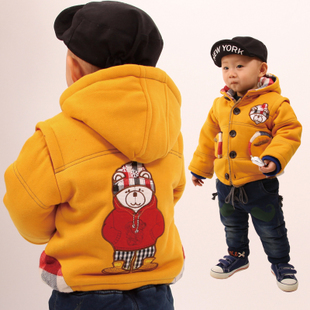 Free shipping New boys thicker cartoon hooded coat warm jacket boy sandwiched cotton plus velvet winter