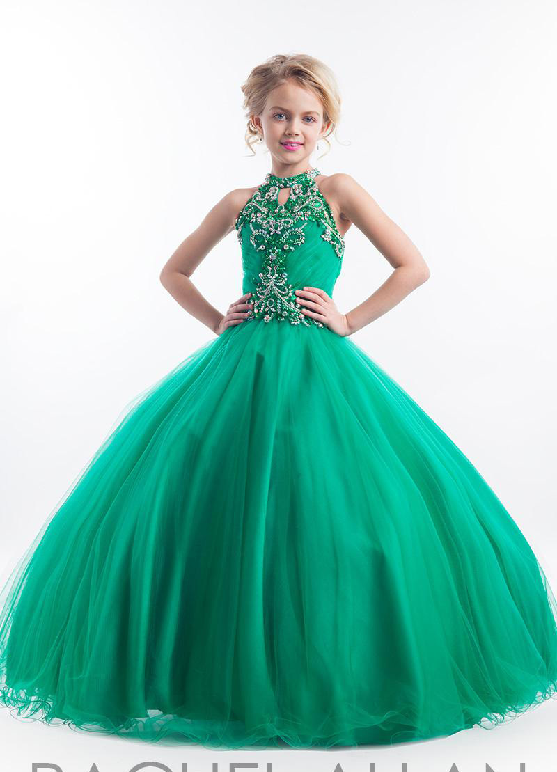 Buy 2015 Halter Flower Girl Dresses With Gold Sequins Ball Gown ...