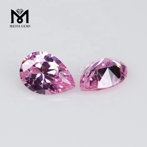 wuzhou factory pear cut synthetic cubic zirconia pink cz stones