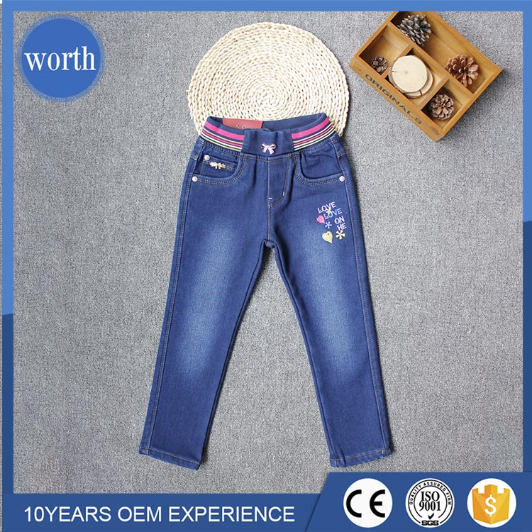 Europe simple style thick thermal kid jeans with polar fleece lining