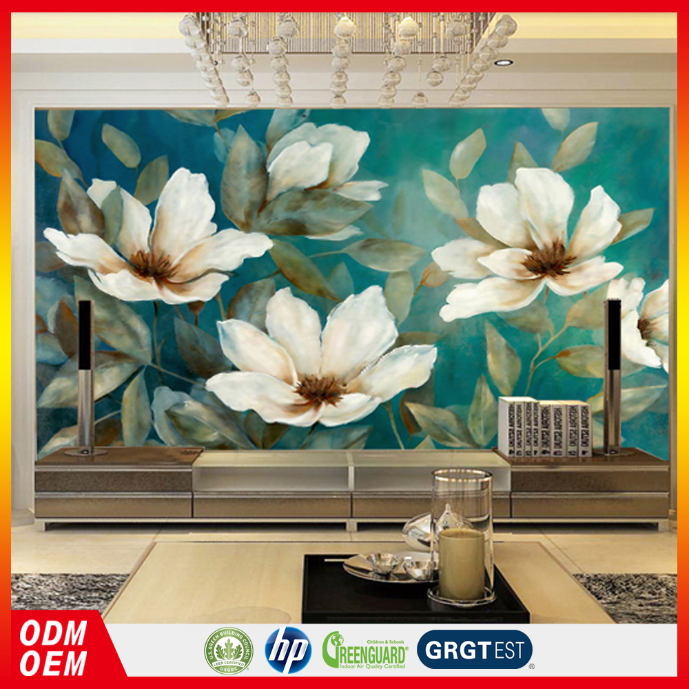 European Retro Nostalgic flower Style wall papers Flower Oil Paintings American pastoral wall murals for living room