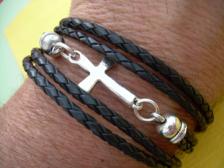 Black Braided Leather Bracelet, Cross Bracelet, Cross Jewelry, Toggle Closure, Triple Wrap, Black Braid, Mens Jewelry, Womens Jewelry, Wrap Bracelet