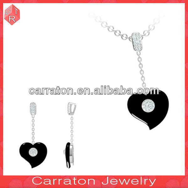 Sterling silver jewellery 2013 black heart dangling earrings for lover