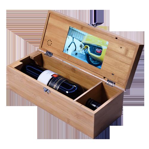 """Interruptor sensor de luz 7 """"tela lcd MDF caixa de chá de madeira, caixa de presente de vídeo"""