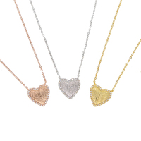 925 sterling silver heart necklace 3 colors gold plated valentines day lover gift elegance lovely heart jewelry