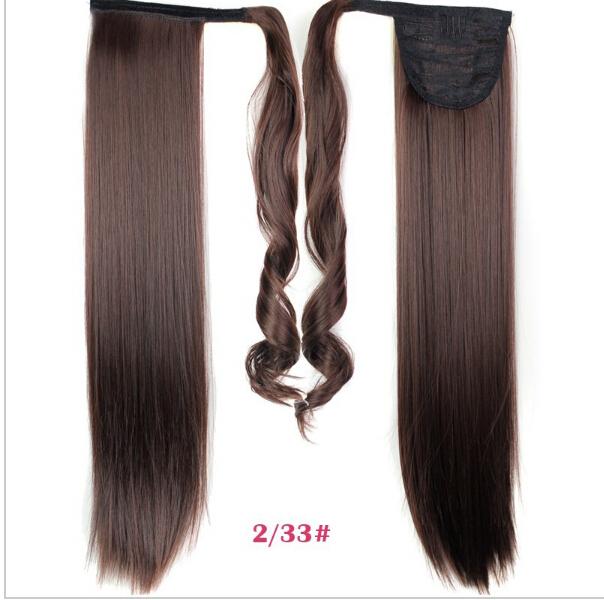 2015 новый 24 дюйм(ов) длинные прямые хвост шиньоны мода женщин синтетические ленты хвостики клип в хвост наращивание волос