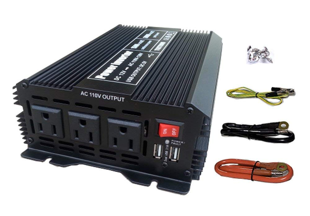Tektrum Automotive 1500W Power Inverter 12V DC to 110V AC, 3 AC Outlets, 2 USB Ports, Intelligent Cooling Fan, Battery Cables Best for Computer, Fan, TV, mini-Fridge, Window A/C, Laptop, Smart Phone
