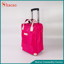 Woman Pink Travel Luggage Bag Suitcase Trolley With 2 Wheels