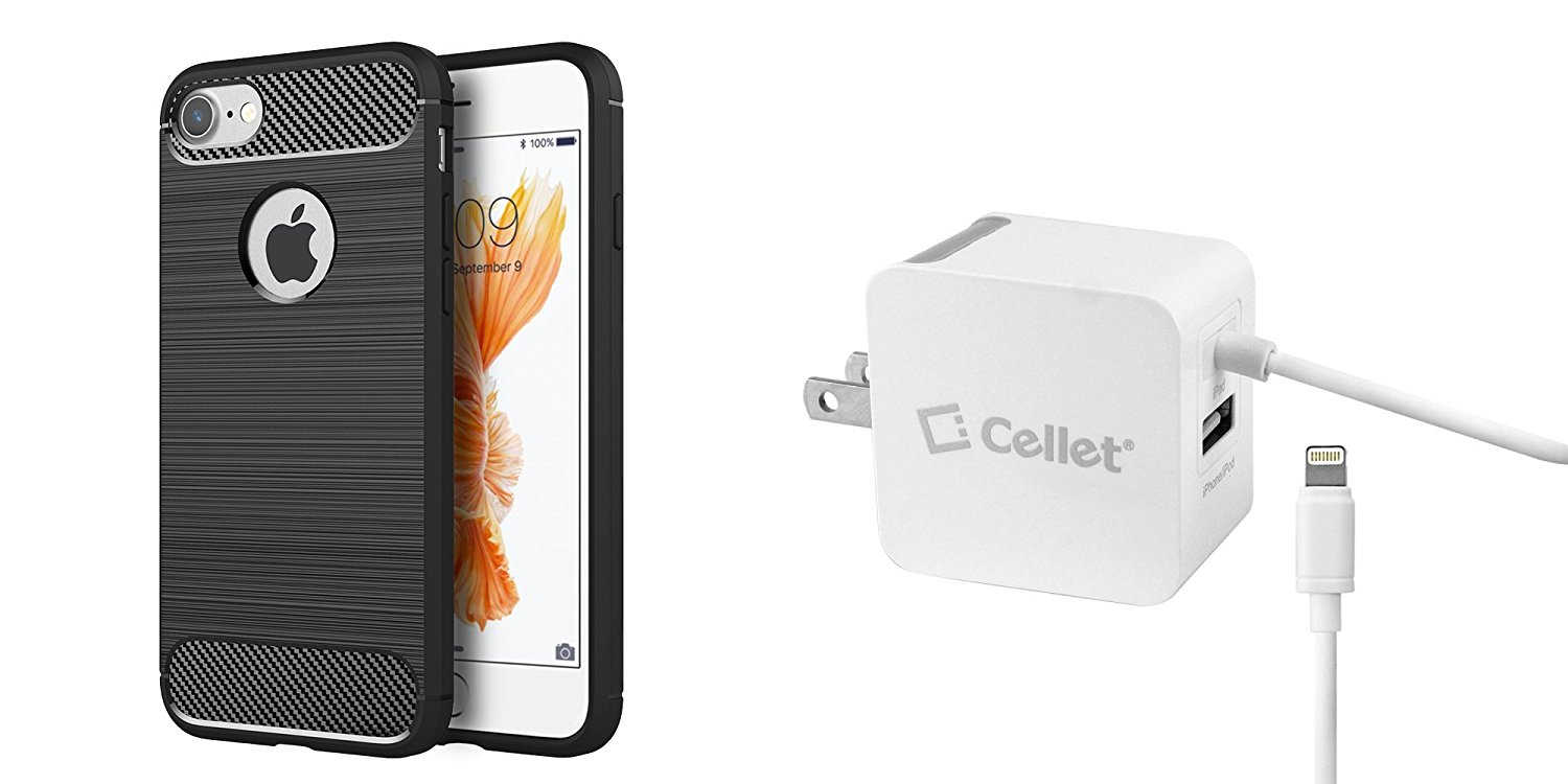 iPhone 7 (4.7 inch) Accessory Bundle with Carbon Air TPU [Resilient Shock Protection] Slim Armor - [Black], Cellet [Apple MFI Certified] 3.1A / 15W Lightning Wall Charger with USB Port and Atom LED