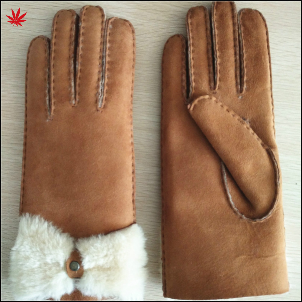 women's double face sheepskin leather gloves with button