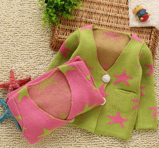 D50588J 2014 NEW DESIGN CHILDREN PRINTED CARDIGAN GIRL'S SWEATERS