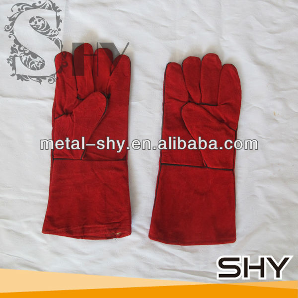 Red Long Leather Safety Labour Gloves