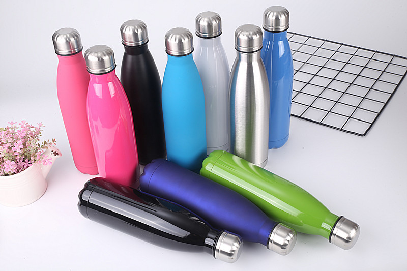 Spray Cola Shaped Water Bottle Vacuum Insulated  Double Walled Stainless Steel Travel Water Bottle Tumbler