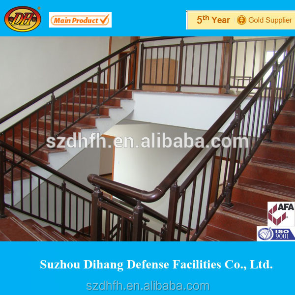 Steel Pipe Stair Handrail With Wrought Iron Design