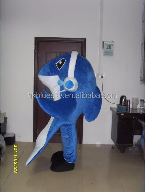 bswm37 Cartoon music dolphin mascot costume blue dolphin costume