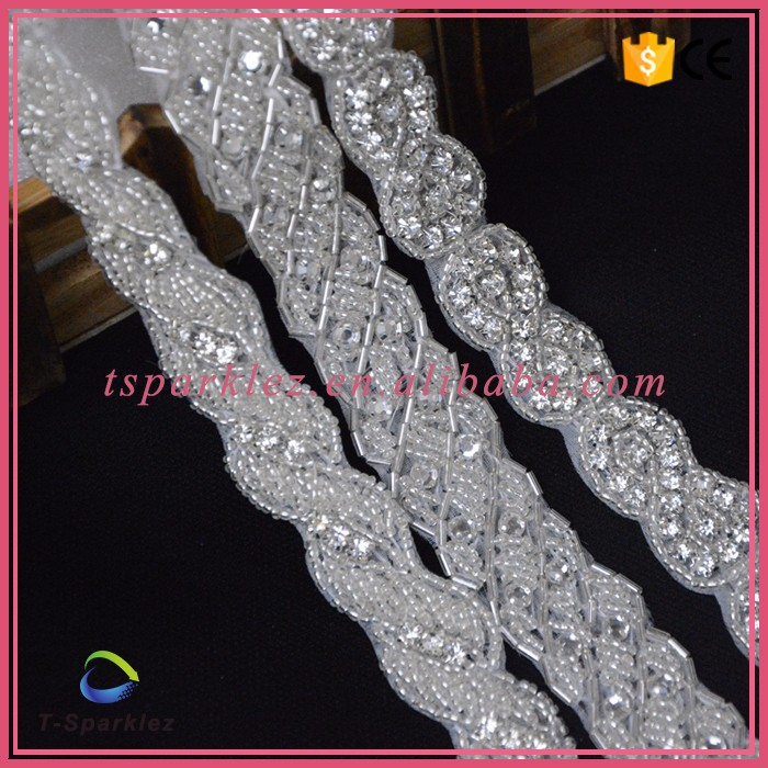 Sew on rhinestone applique bodice crystal rhinestone applique for wedding dresses