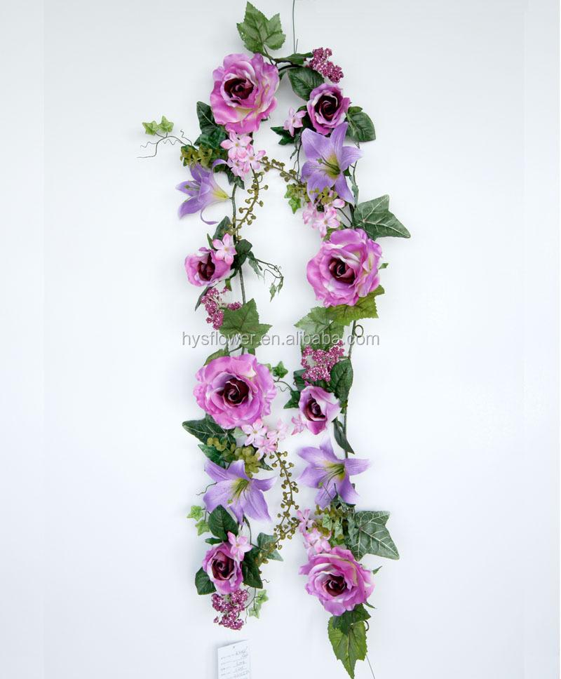 cheap silk flower garland artificial rose and lily garland wedding flower garland buy silk. Black Bedroom Furniture Sets. Home Design Ideas