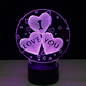Children bedroom decoration lamp Illusion Heart Shape Acrylic 3D LED Night lights 7 Light Colors Table Lamps Baby Toys