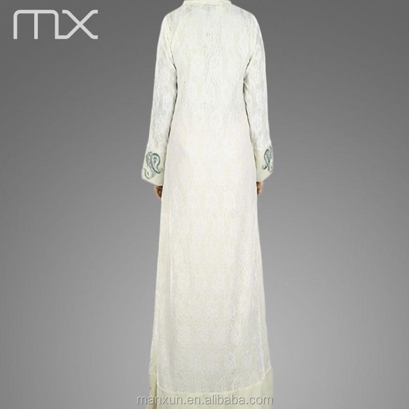 Großhandel Spitze Muslimische Hochzeit Hijab Kleid Mit Langen Ärmeln ...