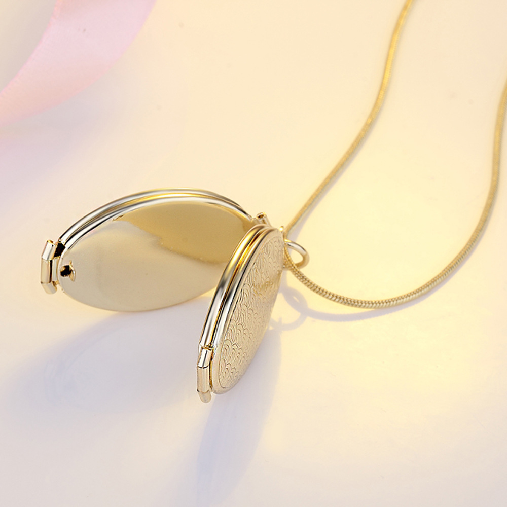 Wholesale Latest Design Jewelry Necklace Photo Frame Necklace Fold Over Photo Inside Pendant Necklace
