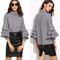 N1268 Wholesale UK Gingham High Neckline Woven cotton Top 2017 New Classic check Style Fashion Female 3/4 Sleeve Ruffle Blouse