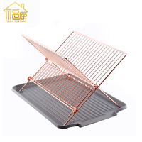 Eco friendly copper finishing cross type dish rack stainless steel dish rack