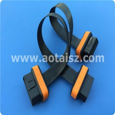 Low profile y splitter obd ii flat cable for motocycle diagnostic tool