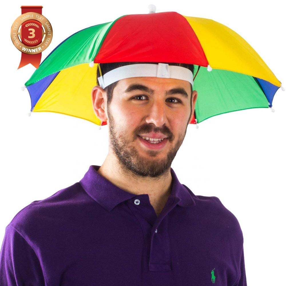 Rainbow Colors fishing Umbrella Hat for Kids and Adults foldable head umbrella hat cap