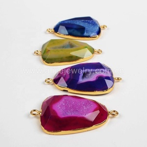 G0373 Newest style 18k gold electroplated agate geode jewelry connectors, druzy drusy agate slice connectors jewellery