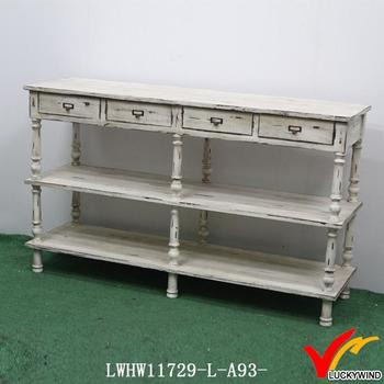 White Chic Narrow Antique French Distressed Wood Console Tables