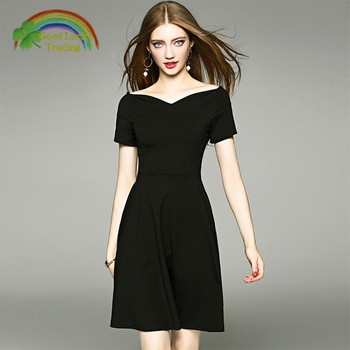 Faction Ladies Black V Neck Dress Plus Size Women Short 50s Style Sleeve  Office Dresses For Summer - Buy Dress Ladies,Women Dresses Summer,Office ...