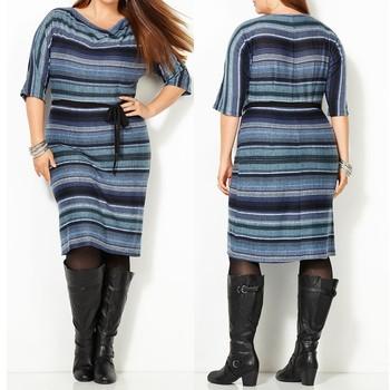 Plump Lady Drapeneck Stripe Knit Dress,Womens 4xl Plus Size Dress ...