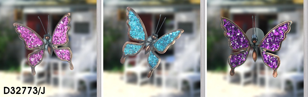Fence Hangers Garden Jewellery Sparkly Butterfly Pot