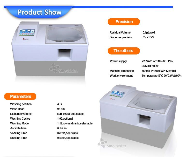 SK962 pc connecting fully automatic lab elisa plate reader and washer