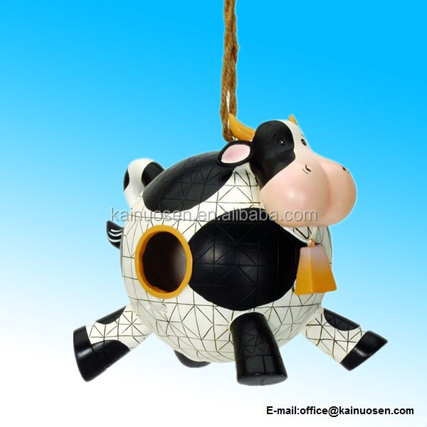 Polyresin Folk Art Cow Birdhouse