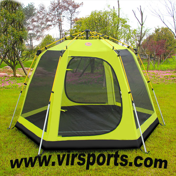 3-4people double layer aluminium outdoor camping tent for family