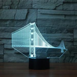 LM011 2018 hot sale GOLDEN GATE BRIDGE modern color changing 3d decoration night light