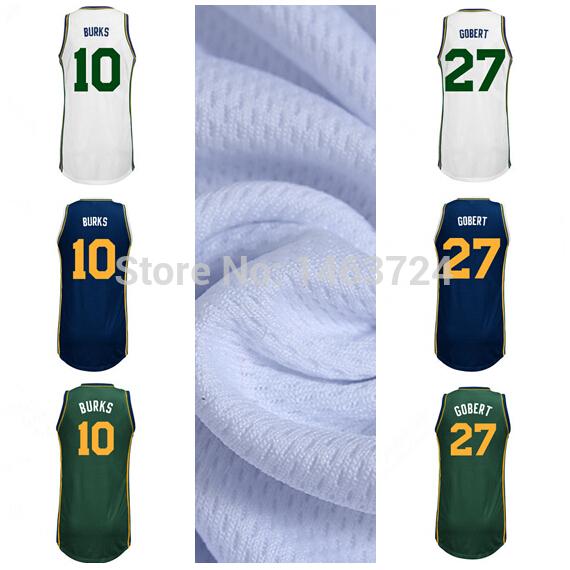 pretty nice 5eddc 8c94a Newest Utah #27 Rudy Gobert Jersey Custom Baskeyball Jerseys Green Blue  White #10 Alec Burks Basketball Jerseys Shirt Uniform
