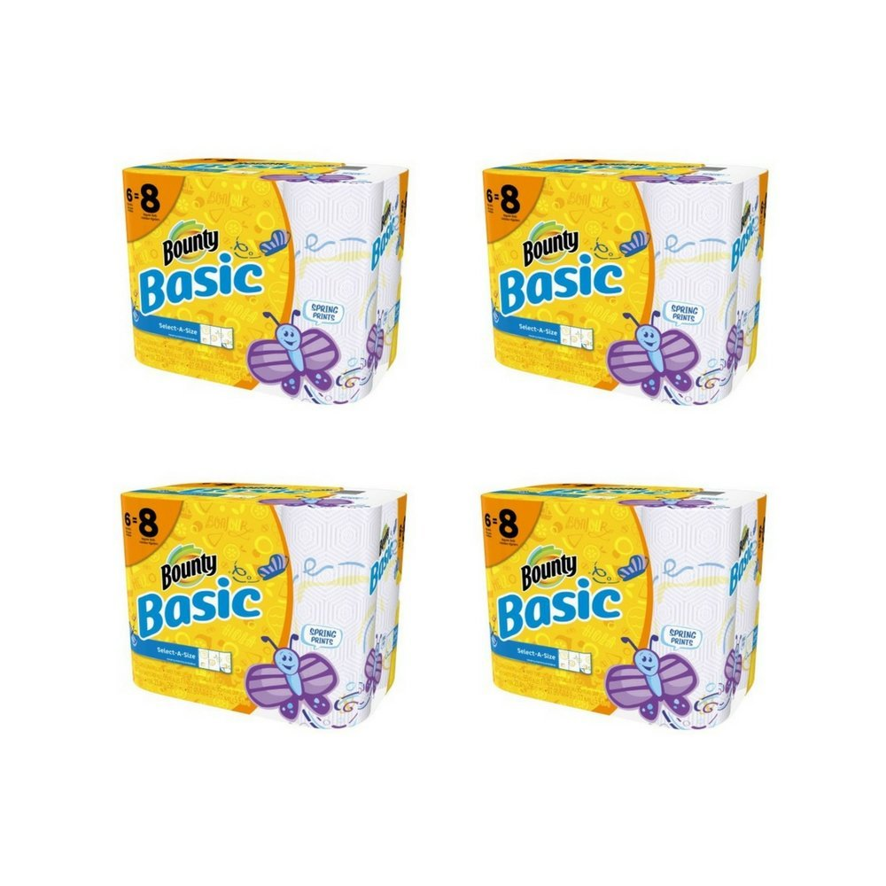 Basic Bounty Basic Select-A-Size Paper Towels, Spring Print, 6 Big Rolls = 8 Regular Rolls - Pack of 4