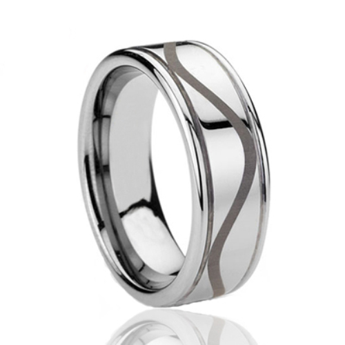 New products tungsten celtic engagement rings with laser etched and 2 grooved