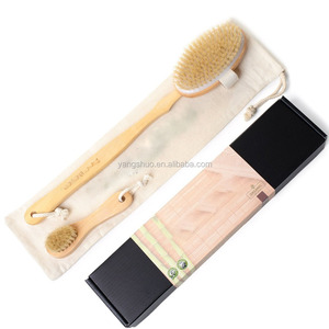 Dry Body Brush and Face Brush Set for Bath & Shower Boar Bristles