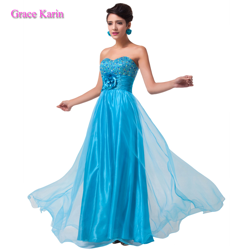 2015 summer Grace Karin turquoise blue long evening dress Organza Sequins Strapless Sweetheart Sexy Formal Prom dresses CL6039