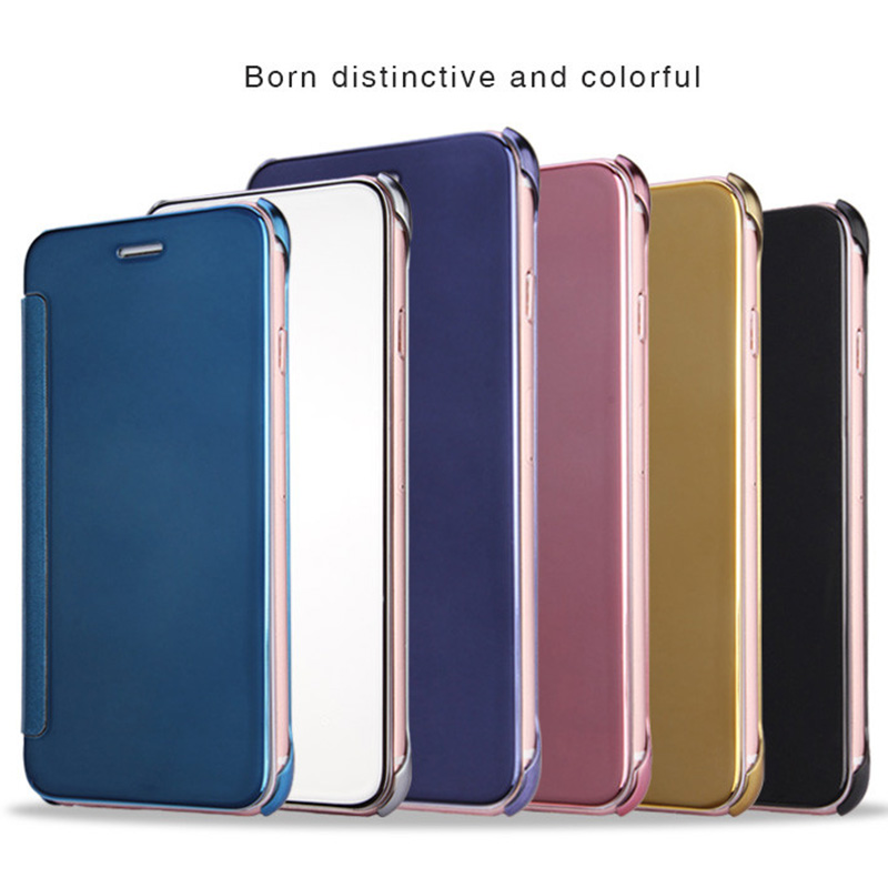 Electroplating Smart Clear View Mirror Case for iphone 8/iphone 8 plus Flip Phone Case