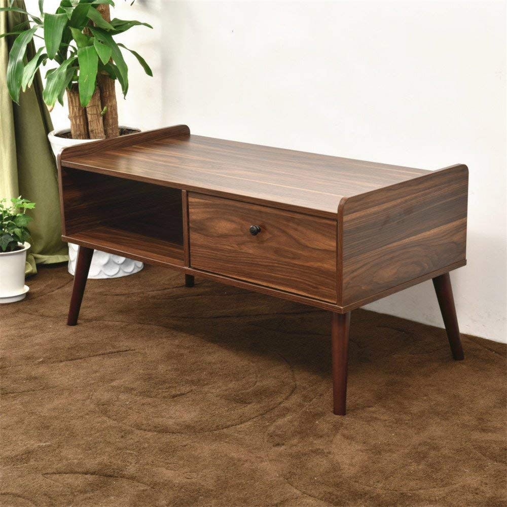 LAPUTA Simply Modern Coffee Table For Living Room, Tea Table With Storage Cabinet Made From Oak Wood, Easy To Set Up, Large Rectangular End Table (Natural)