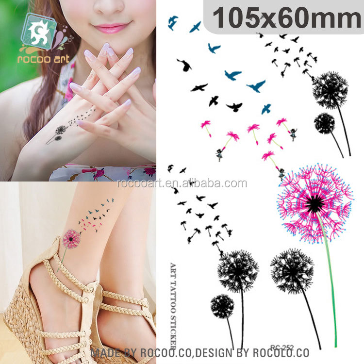 RC252/Colorful Temporary Feature and Tattoo Sticker Type Beauty Swallow The Dandelion Tattoo Designs Sticker