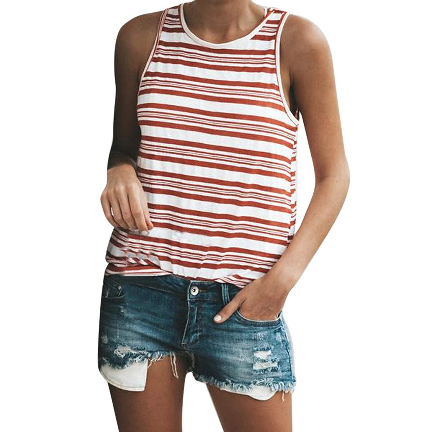 Jinjin Womens Blouse, Women Stripe Sleeveless Blouse Casual Tank Loose Tops T-Shirt Summer