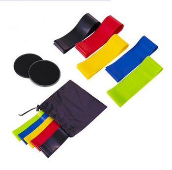 High Quality Different Strength Level Exercise Latex Resistance Band Fitness And Corn Sliders Set